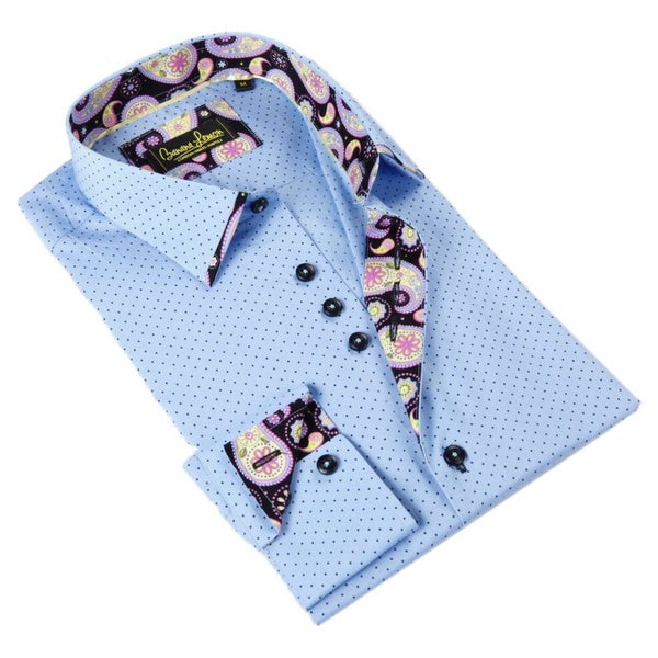 Banana Lemon Men's Blue Dot Patterned Button-down Shirt