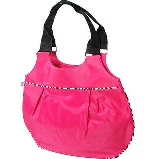 Microfiber Shoulder Tote Bag with Zebra Piping