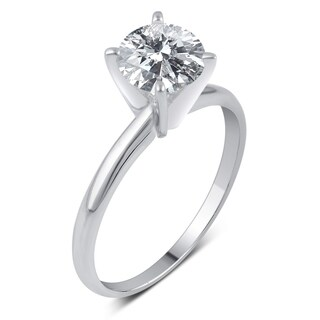 14k Gold 1 1/2ct TDW IGL-certified Round Diamond Solitaire Engagement Ring (H-I, I1-I2)