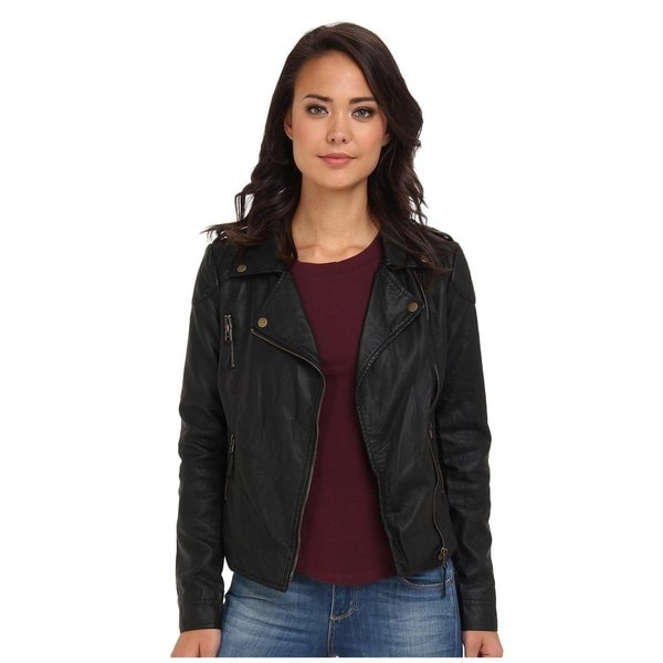 Mavi Jeans Ava Black Vegan Leather Asymmetrical Zip Jacket