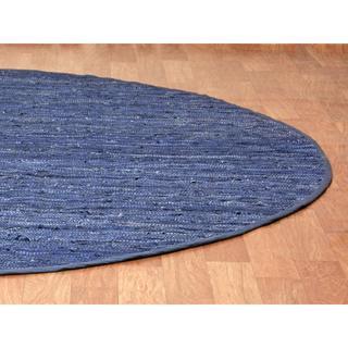 Blue Matador Leather Chindi (3'x3') Round Rug