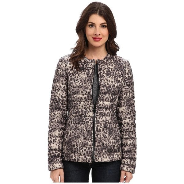 Betsey Johnson Leopard And Black Reversible Lightweight Puffer Jacket