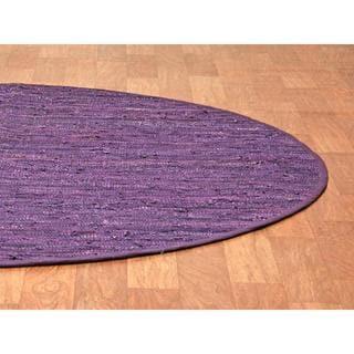 Purple Matador Leather Chindi (3'x3') Round Rug