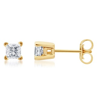 14k Gold 1/4 to 1 1/2ct TDW Princess-cut Certified Diamond Solitaire Stud Earrings (H-I, I1-I2)