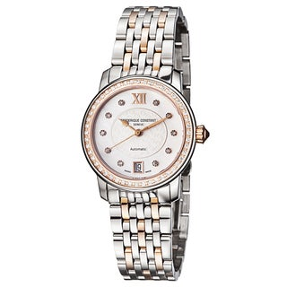 Frederique Constant Women's FC-303WHF2PD2B3 'Ladies Automatic' Mother of Pearl Diamond Dial Two Tone Stainless Steel Watch