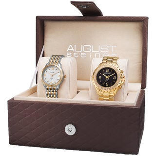 August Steiner Women's Diamond-Accented Quartz Gold-Tone Bracelet Set