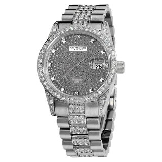 Akribos XXIV Men's Diamond Crystal Quartz Stainless Steel Gun Bracelet Watch