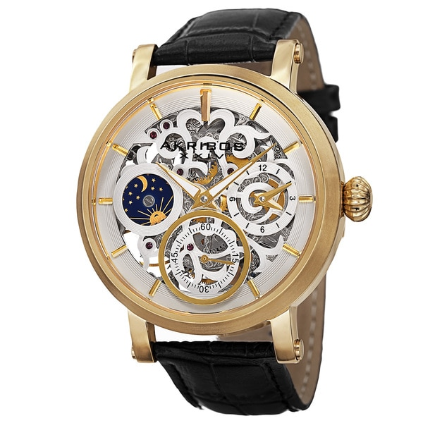 Akribos XXIV Mens Automatic Multifunction Dual-Time Skeleton Dial Leather Strap Watch
