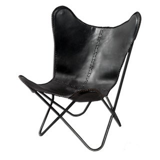 Horizon Black Leather Butterfly Chair