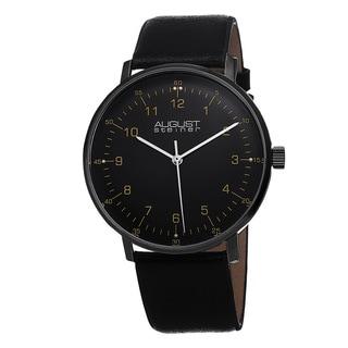 August Steiner Men's Swiss Quartz Genuine Leather Strap Watch
