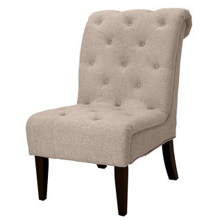 Hutton off white linen look button tufted armless chair for Bellagio button tufted leather brown chaise