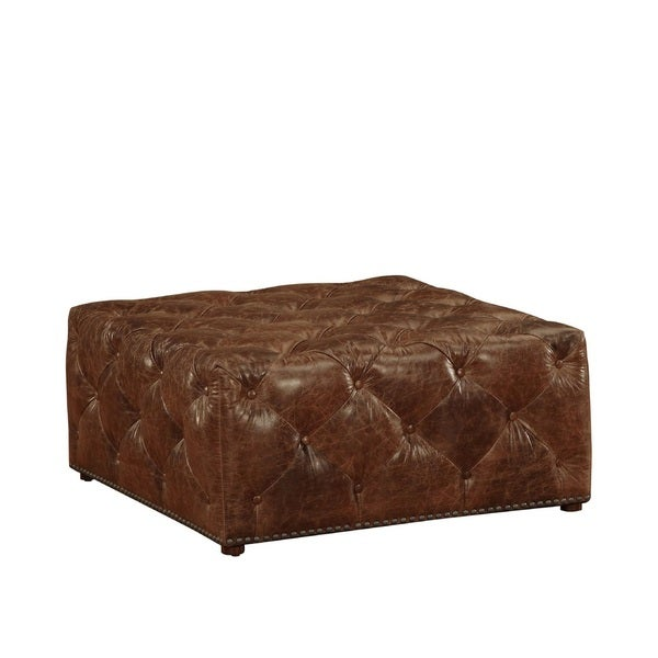 Lazzaro Leather Optimal Tufted Square Cocktail Ottoman