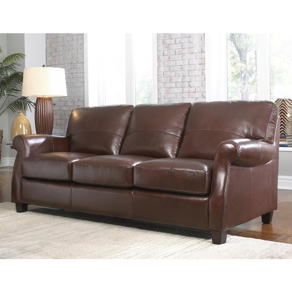 Lazzaro Leather Carlisle Coffee Bean Sofa