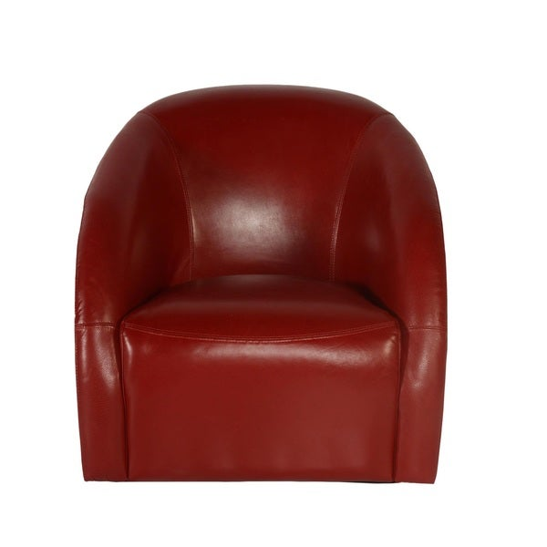 Lazzaro Leather Maryland Swivel Red Tub Chair