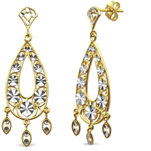 10k Yellow Gold Diamond-cut Pear-shaped Dangle Earrings