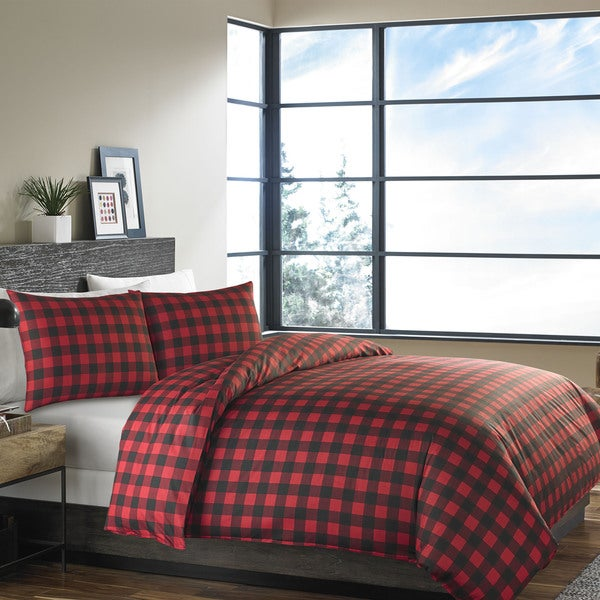 Eddie Bauer Mountain Plaid Scarlet Duvet Cover Set