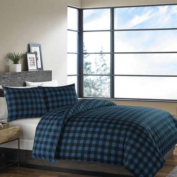 Eddie Bauer Mountain Plaid Dusted Indigo Duvet Cover Set