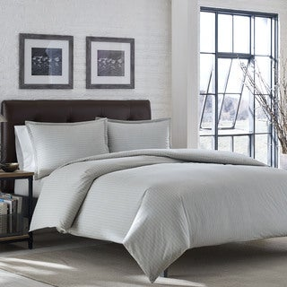 Eddie Bauer Wallace Stripe Chrome Flannel Duvet Cover Set