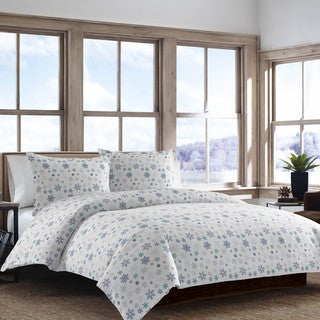 Eddie Bauer Tossed Snowflake Flannel Duvet Cover Set