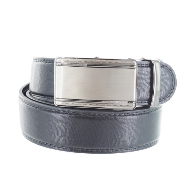 Faddism Men's Genuine Leather Belt with Swirl Border Gun Metal Buckle