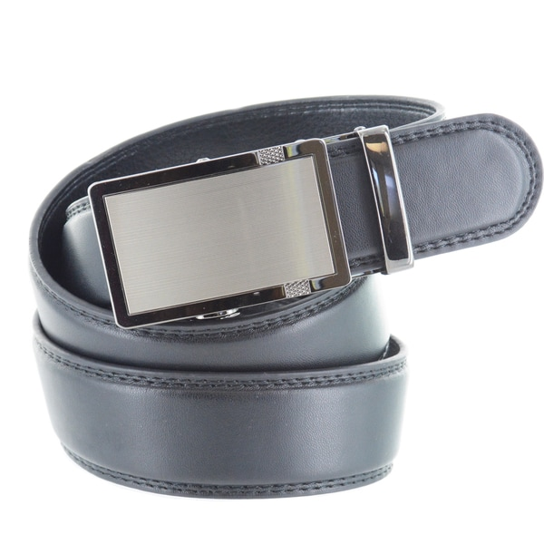 Faddism Men's Black Genuine Leather Belt with Matte Gun Metal Buckle