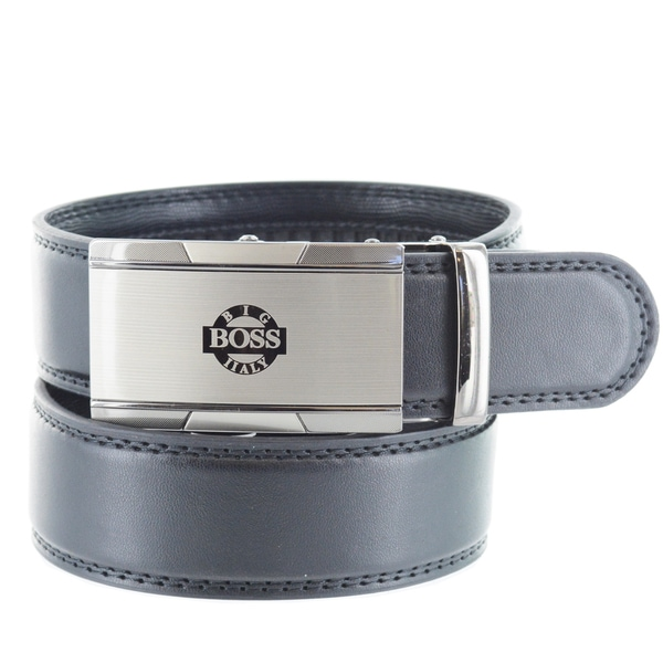 Faddism Men's Genuine Leather Belt with 'Big Boss' Gun Metal Buckle