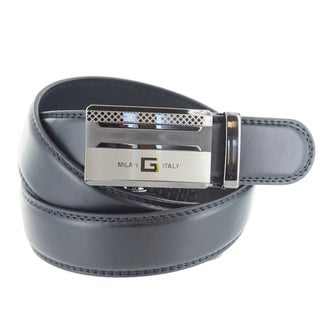 Faddism Men's Genuine Leather Belt with 'Milan Italy' Gun Metal Buckle