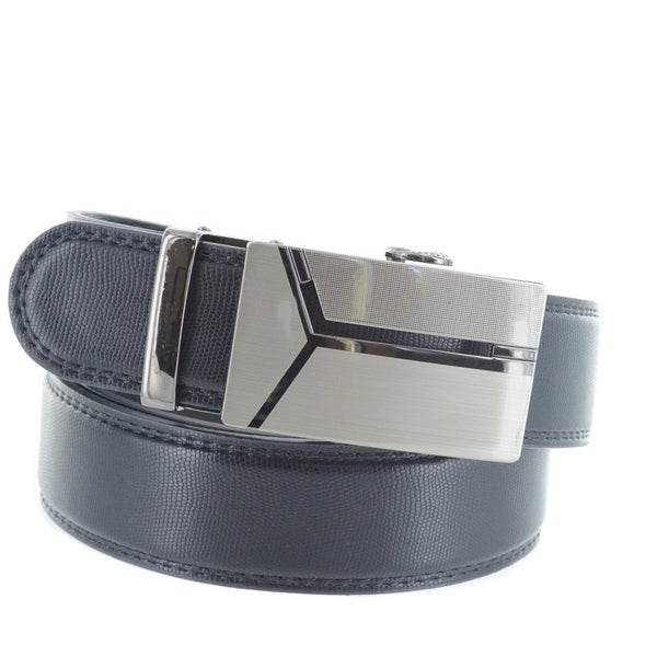 Faddism Men's Genuine Leather Belt with Gun Metal Buckle