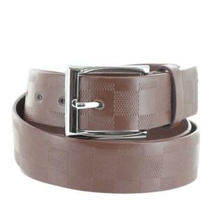Faddism Men's Checker Embossed Genuine Leather Belt