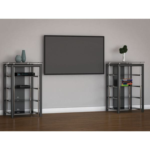 Midnight Mist Set of 2 Media Stands in Black 16188889
