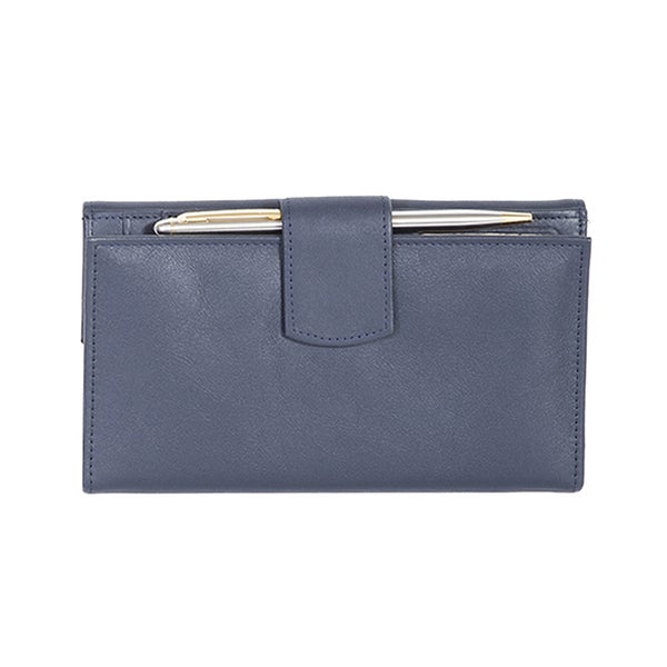 Scully Navy Leather Maxi Clutch