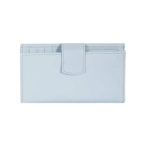 Scully Blue Leather Maxi Clutch