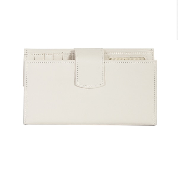 Scully Cream Leather Maxi Clutch