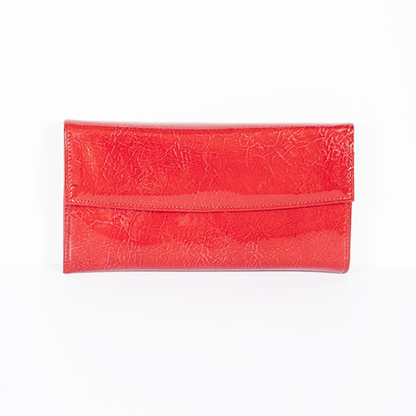 Scully Red Leather Wallet Clutch
