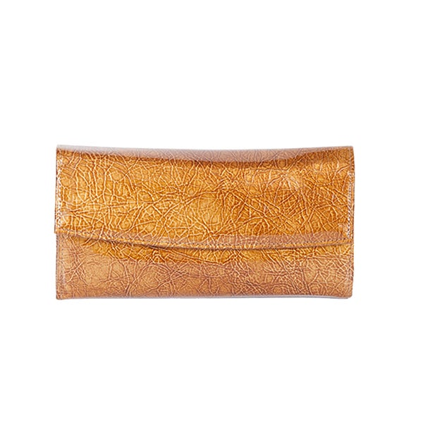 Scully Gold Leather Wallet Clutch