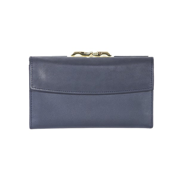 Scully Navy Leather Framed Clutch