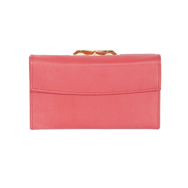 Scully Coral Leather Framed Clutch