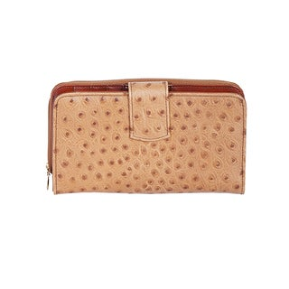 Scully Beige Leather Maxi Zip Wallet