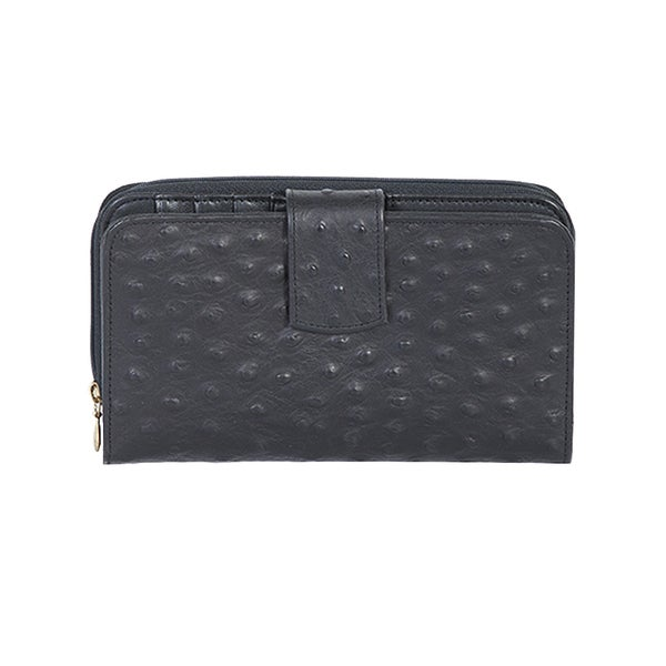 Scully Black Leather Maxi Zip Wallet