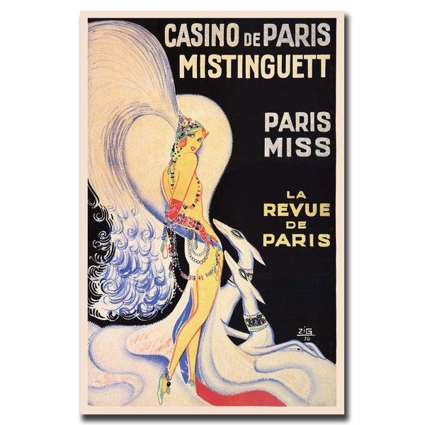 Vintage Art 'Casino de Paris Mistinguett' Canvas Wall Art 16189107