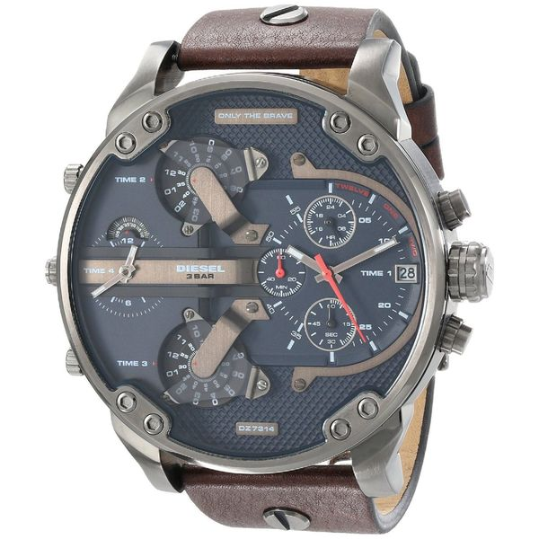 Diesel Men's DZ7314 'Mr. Daddy 2.0' Chronograph 4 Time Zones Brown Leather Watch
