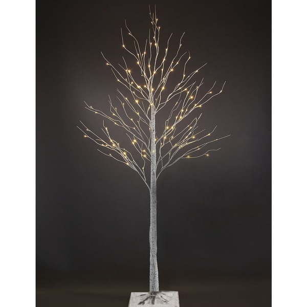 7-foot Silver Artificial Birch Christmas Tree with 96 LEDs (As Is Item)