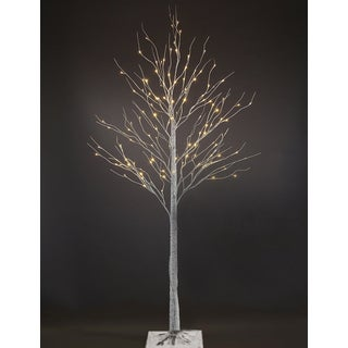 7-foot Silver Artificial Birch Christmas Tree with 96 LEDs