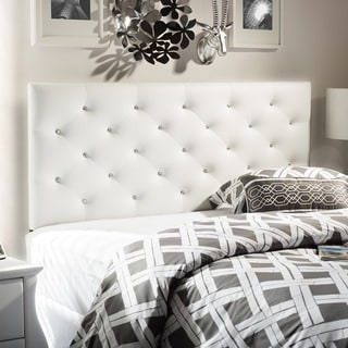 Viviana Modern and Contemporary Full/Queen Size White Faux Leather Upholstered Crystal-tufted Headboard
