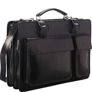 Sharo Black Italian Leather 15-inch Laptop Briefcase