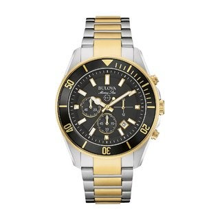 BulovaMarine Star 98B249 Men's Stainless Steel Two Tone Watch. Date, Luminous Hands and Markers