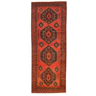Herat Oriental Afghan Hand-knotted Tribal Balouchi Rust/ Navy Wool Rug (4'10 x 12'10)