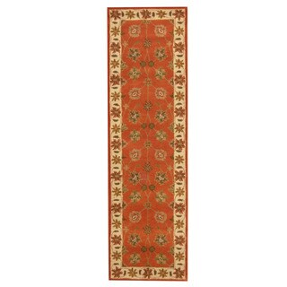 Herat Oriental Indo Hand-tufted Mahal Rust/ Ivory Wool Rug (2'4 x 8')