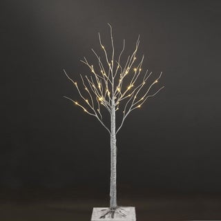 Patch Magic 40-Inch Silver Artificial Birch Christmas Tree with 36 LEDs