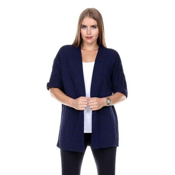 Stanzino Women's Short Sleeve Open Sweater Cardigan